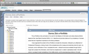 Figure 1.1: Donna Zick's e-Portfolio work area in ANGEL