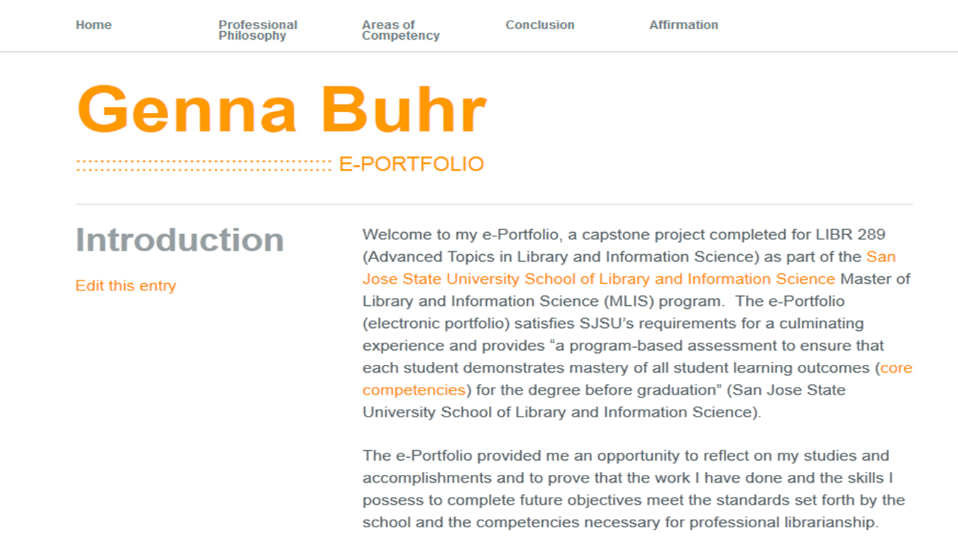Using an Electronic Portfolio as a Capstone Project: The