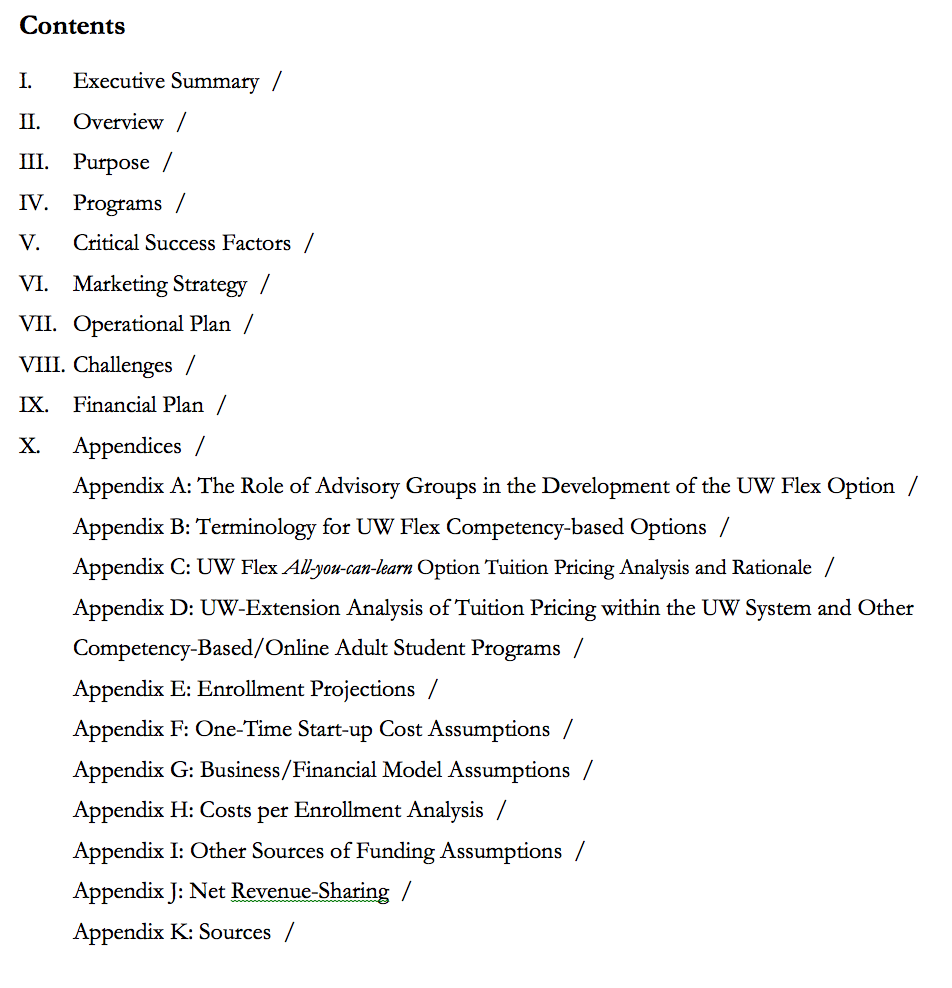 Figure 1: Table of Contents for the UW Flexible Option Business Plan